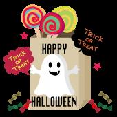 ハロウィンのおしゃれ な おばけ と キャンディー の 無料 イラスト