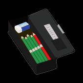 黒の 筆箱(ペンケース)と 鉛筆と消しゴムと赤鉛筆の おすすめ イラスト