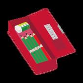 赤の 筆箱(ペンケース)と鉛筆と消しゴムと赤鉛筆 の フリー イラスト