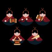 ひなまつり「五人囃子(ごにんばやし)」の 無料 イラスト