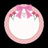 母の日 プレゼントに添えて!丸型フレーム(枠)テンプレート イラスト