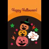 ハロウィンのグリーティングカード  おしゃれなかぼちゃのイラスト(縦)