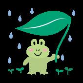 【梅雨】蛙(カエル)と葉っぱ傘の かわいい 無料 イラスト