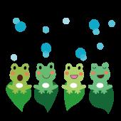 かわいい♪カエル(蛙)合唱の 無料 イラスト【梅雨】