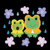 レインコートを着た カエル(蛙)の親子のイラスト【梅雨】