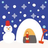 かまくら と かわいい 雪だるま の 冬 フリー イラスト