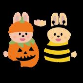 ハロウィン♪ かわいい子供 うさぎのカボチャとハチの仮装 無料 イラスト