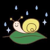 【梅雨】葉っぱとカタツムリ(でんでん虫)イラスト