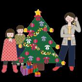 クリスマス♪ クリスマスツリーの飾り付け 無料 イラスト