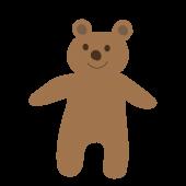 かわいい!立っている熊(くま・クマ・テディベア)無料 イラスト
