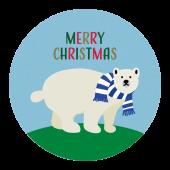 メリークリスマス!文字 と シロクマ のワンポイント(青色) イラスト