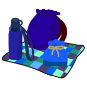 かわいい!遠足の持ち物(リュック・水筒・お弁当)男の子 イラスト