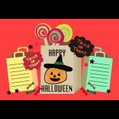 ハロウィンのグリーティングカード  ポップなカボチャのイラスト(横)
