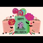 ハロウィンのグリーティングカード  おしゃれなコウモリのイラスト(横)