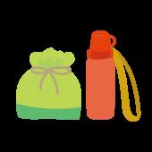 かわいい!お弁当 と 水筒 のセット フリー イラスト