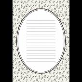 便箋 テンプレート 音符柄のモノトーン イラスト