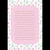 便箋(レターセット) テンプレート 音符柄のかわいい 無料 イラスト