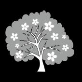 春 イラスト!かわいい♩ 桜 の木の 白黒 フリー イラスト