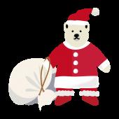サンタクロース !? 白くま(しろくま) フリー イラスト