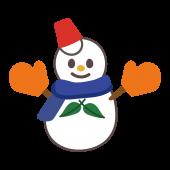 手袋とマフラーをした雪だるま(スノーマン)のイラスト