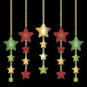 クリスマスの飾り(星型カラフル オーナメント) 無料 イラスト