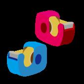 青と赤の セロテープ(せろてーぷ)の おすすめ 無料 イラスト