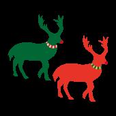 おしゃれなトナカイ♪クリスマスカラー 無料  イラスト