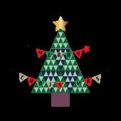 おしゃれなクリスマスツリーとガーランドの イラスト