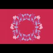 パステル超のハートとお花!Happy Valentine's Dayのグリーティングイラスト
